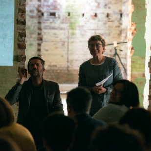 Paul Chaney and Sara Bowler speaking in the Happidrome, image A.Tixiliski